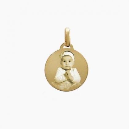 Médaille rond moyen en plaqué or personnalisée